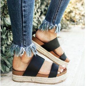 Shoes - Black Espadrille Two Strap Slip On Sandal